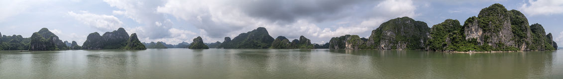 Panorama of Rock formations in Halong Bay,  Vietnam Stock Photography