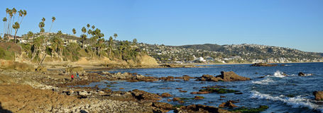 Panorama of Rock Pile Beach, Heisler Park and Laguna Beach, California Royalty Free Stock Images