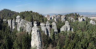Panorama of the rock town in the Bohemian Paradise Royalty Free Stock Photography