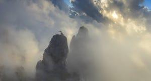 Panorama rocks at dawn clouds Stock Photo