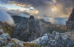 Panorama rocks at dawn clouds Stock Image