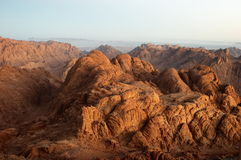Panorama rocks in early morning. Panorama rocks of Mount Sinai in early morning And the mountains shall be molten under him, and the valleys shall be cleft, as royalty free stock images