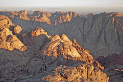 Panorama rocks of holy ground Mount Sinai. In the morning Stock Images