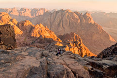 Panorama rocks of Mount Sinai in early morning Royalty Free Stock Images