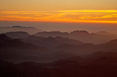Panorama rocks of Mount Sinai on the sunrise, Egypt Royalty Free Stock Image