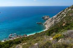 Rocks near Petani Beach, Kefalonia, Ionian Islands, Greece. Panorama of rocks near Petani Beach, Kefalonia, Ionian Islands, Greece Royalty Free Stock Photography