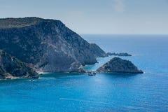 Rocks near Petani Beach, Kefalonia, Ionian Islands, Greece. Panorama of rocks near Petani Beach, Kefalonia, Ionian Islands, Greece Stock Photography