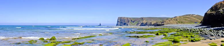Panorama from rocks and ocean in Portugal Stock Image