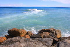Panorama with rocks and the sea Stock Photography