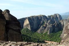 The rocks of St. Meteora in the central part of Greece. 06. 18. 2014. Landscape of mountainous nature, settlements and religious o. Panorama of the rocks of St Stock Images