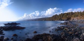 Rocky beach on Canada`s west coast, Sooke, Vancouver Island, BC. Panorama of a rocky beach on Canada`s west coast, Sooke, Vancouver Island, BC stock images