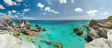 Panorama of rocky Bermuda coast. In  sand beach Stock Images