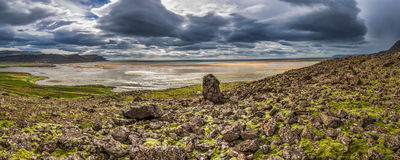 Panorama of rocky coast in Iceland Stock Images