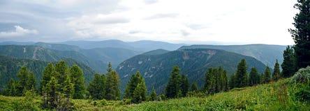 Panorama of rocky coast and mountains near Lake Baikal.  Stock Photo