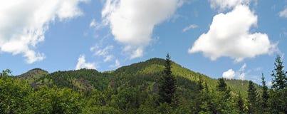 Panorama of rocky coast and mountains near Lake Baikal.  Stock Image