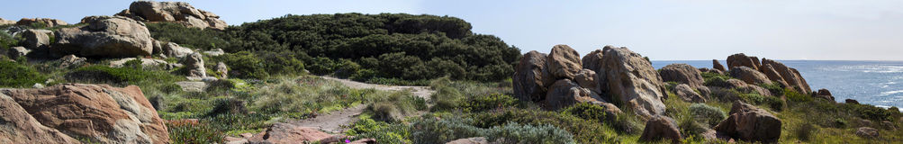 Panorama of rocky coastal dunes   at Cape Clairault south   west Australia in late winter. Royalty Free Stock Photo