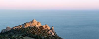 Panorama of rocky coastline of Royalty Free Stock Image