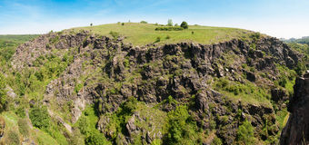 Panorama of the rocky hill stock photography