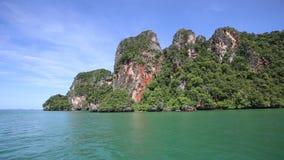 Panorama rocky island stock footage