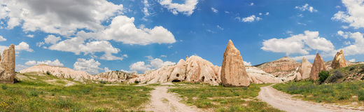 Panorama of rocky landscape in Cappadocia. Stock Image