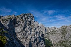 Panorama of the rocky mountains in the Alps, Germany stock photo