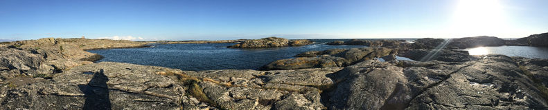 Panorama of rocky seacoast Stock Image