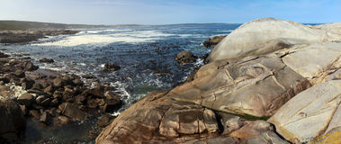 Panorama of a rocky shore Stock Images