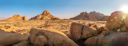 Panorama of the rocky terrain of Spitzkoppe, Namibia stock images