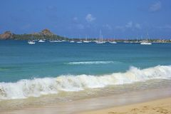 Panorama of Rodney bay in St Lucia, Caribbean Stock Photography