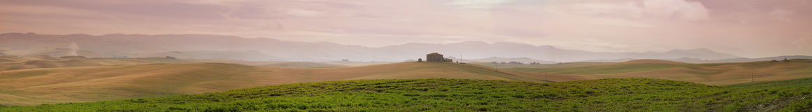 Panorama of rolling fields, Italy Royalty Free Stock Image
