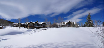 Free Panorama: Rolling Hills, Conifers And Large Homes Royalty Free Stock Images - 4174159