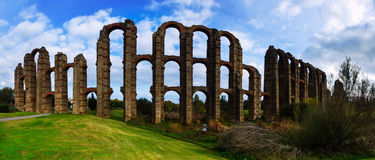 Panorama of  Roman Aqueduct of Merida Royalty Free Stock Photos