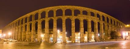 Panorama of  Roman Aqueduct of Segovia Stock Images