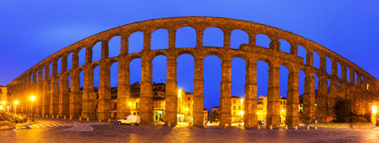 Panorama of  Roman Aqueduct of Segovia Royalty Free Stock Images