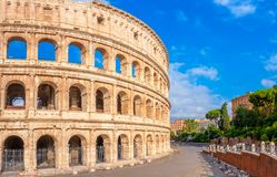 Panorama of the Roman Coliseum, a majestic historical monument. Italy. Europe stock photo