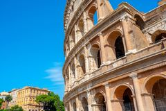 Panorama of the Roman Colosseum. Italy. Europe royalty free stock image