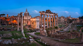 Panorama of Roman Forum Foro Romano in the Evening, Rome, Ital Royalty Free Stock Image