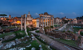 Panorama of Roman Forum (Foro Romano) in the Evening, Rome Stock Photos