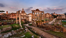 Panorama of Roman Forum (Foro Romano) at Sunset, Rome Royalty Free Stock Photos