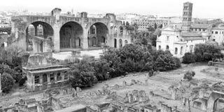 Panorama of the Roman Forum, monochrome photo. Royalty Free Stock Photos