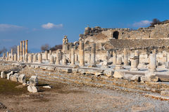 Panorama Roman main road with stone columns row in ephesus Archa Royalty Free Stock Images