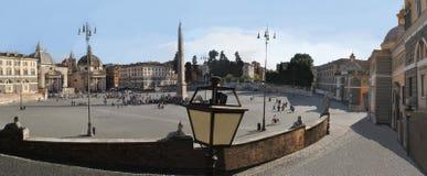 Panorama of the Roman Piazza Del Poppolo Square. Stock Photo