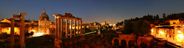 Panorama of Roman ruins, Rome Royalty Free Stock Images