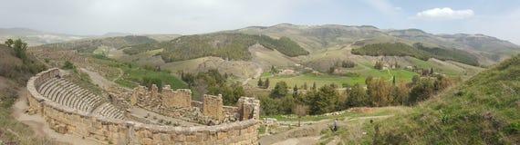 Panorama on the Roman theater. Panorama on the theater , ruins romans Djemila, Algeria Royalty Free Stock Photos