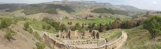 Panorama on the Roman theater. Panorama on the theater , ruins romans Djemila, Algeria Stock Images