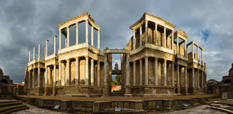 Panorama of Roman Theatre  in Merida Stock Photos