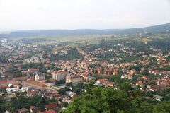 Panorama of the Romanian city bird's-eye view. Panorama of the Romanian city of Deva bird's-eye view Stock Photo