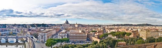 Panorama of Rome. St.Peter cathedral, aerial view from St.Angels Castle Royalty Free Stock Photo