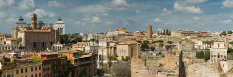 Panorama of Rome as seen from the Palatine hill Stock Photography