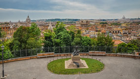 Panorama of Rome and Basilica of St. Peter in a summer day. Panoramic view over the historic center of Rome, Italy royalty free stock photography
